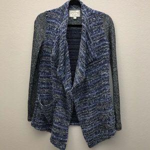 Lucky Brand Blue Gray Waterfall Cardigan Sweater